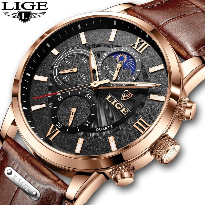 LIGE-ساعة يد رجالية, ساعة يد كوارتز رياضية للرجال موديل 2021 ساعة يد كرونوغراف مقاومة للماء مزودة بعلبة