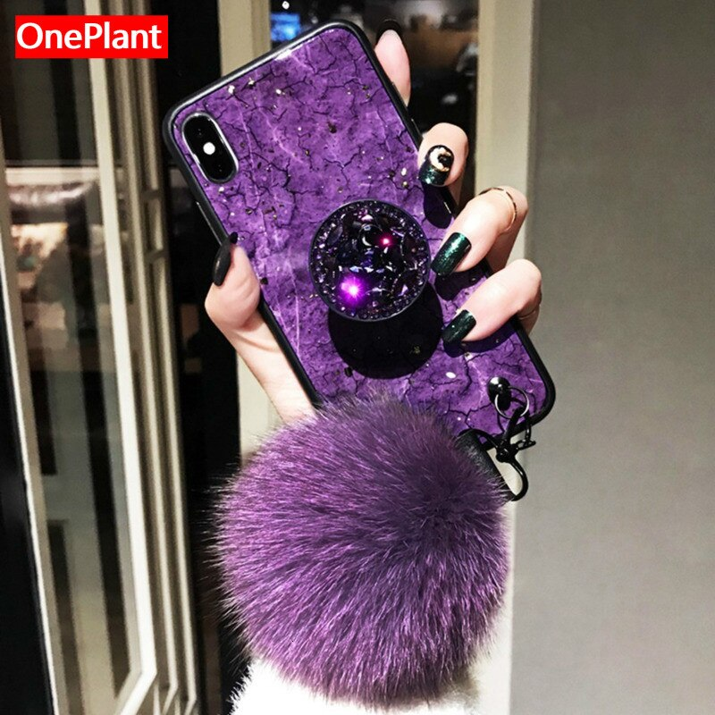 Luxo glitter caso de telefone para iphone x xr xs max 6 s 7 8 mais hairball peludo para samsung s8 s9 s10 plus nota 8 9 silicone capa