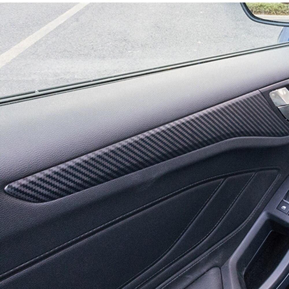Decoración de puerta Interior de estilo de coche de fibra de carbono 4 Uds., moldura de marco, moldura para Ford Focus 2019, accesorios interiores
