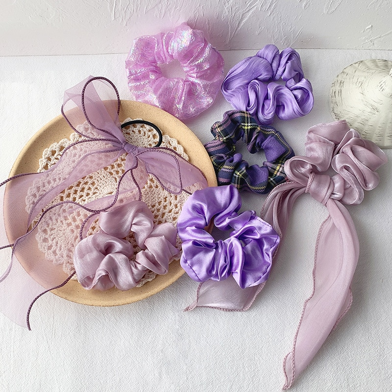 Ruoshui Woman Purple Color Hair Ties Scrunchies Girls Ponytail Holders Women Hair Accessories Headwear Ornaments Hair Gum Rope