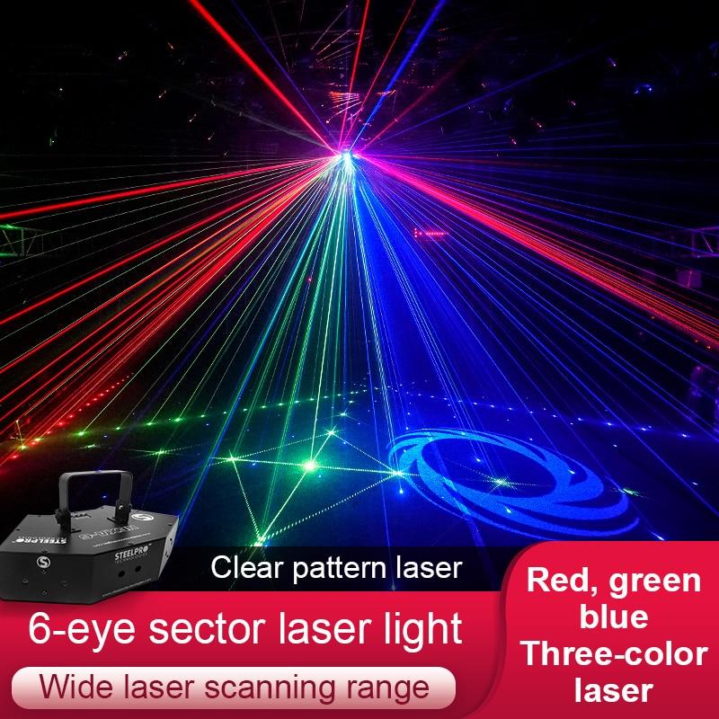 6 Holes Laser Pattern Light 6 Eye Sector Laser Light Image Line Beam Scanner Laser System Show Home Party DJ Stagt Lighting KTV