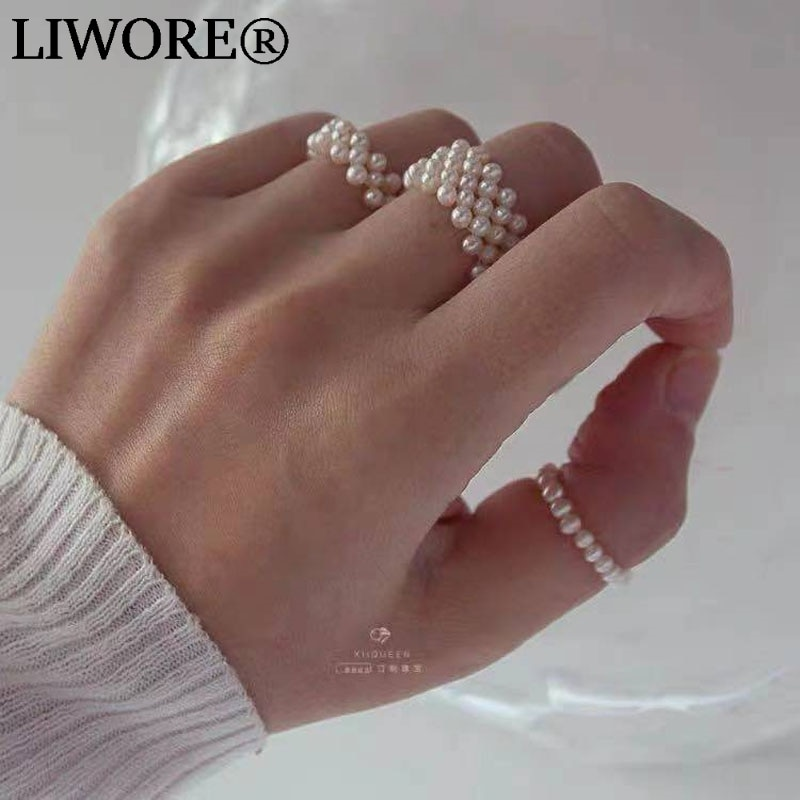 Liwore Fashion Pearl Ring For Women Retro Handmade Multilayer Elastic Index Finger Jewelry