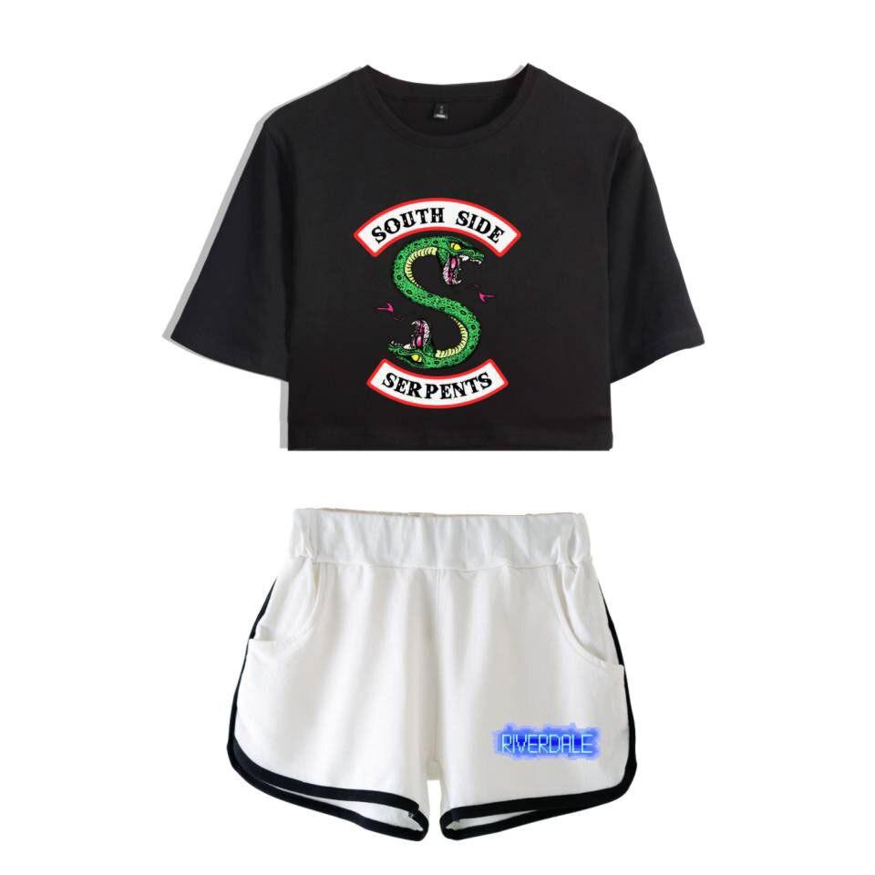 ملابس رياضية نسائية من قطعتين من Riverdale South Side ، ملابس صيفية ، رائعة ، بشعار ، تي شيرت ، شورت علوي ، بدلة رياضية نسائية مثيرة