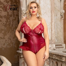 Combinaison Femme Sexy Zipper Body Femenino Leather Plus Size Lingerie Body Sexy Jumpsuit Strappy Bo