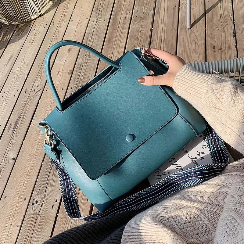Solid Color Large Capacity Handbags For Women 2021 Female Shoulder Messenger Bag Retro Daily Totes Lady Elegant Handbags