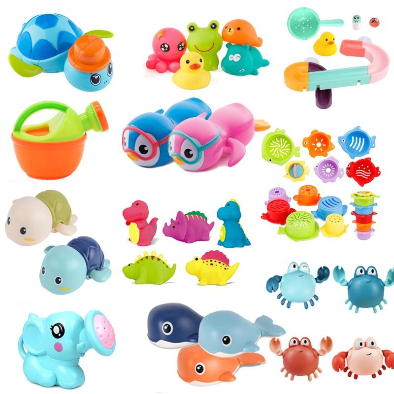 Cute Cartoon Baby Bath Toys Animal Tortoise Classic Baby Water Toy Infant Bathroom Clockwork Educational Kids Beach Bath Toys