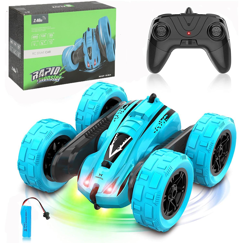 Roclub 4WD RC Car 2.4G Radio Remote Control Car 1:24 Double Side RC Stunt Cars 360° Reversal Vehicle Model Toys For Children Boy