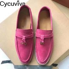 Sıcak renkli Femme Kidsuede düz ayakkabı rahat gerçek deri rahat ayakkabılar kadın asılı metal Slip-on loafer ayakkabılar bayanlar için