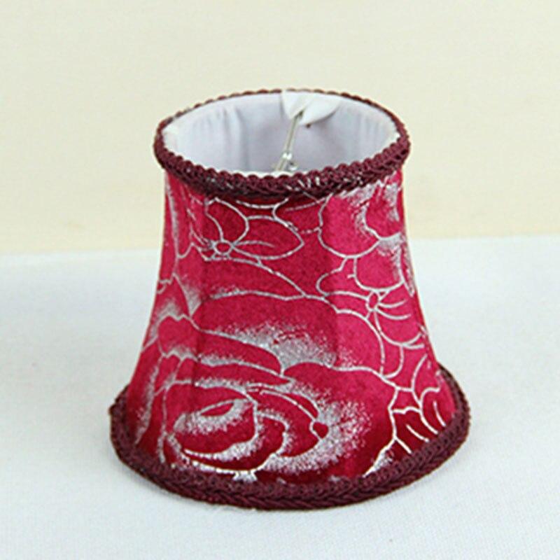 Pantallas de lámpara de franela de vino tinto, pantallas de lámpara florales europeas de noche antiguas, con clip