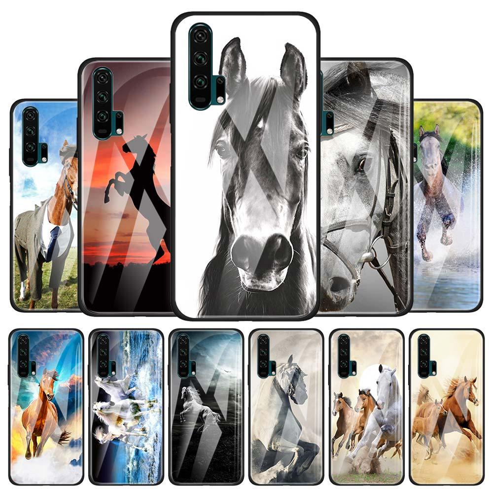 Coque de téléphone en verre trempé pour Huawei Honor 30 20 Pro X9 10 Lite View 30 8X 9X Pro X10 5G housse Capa cheval de course