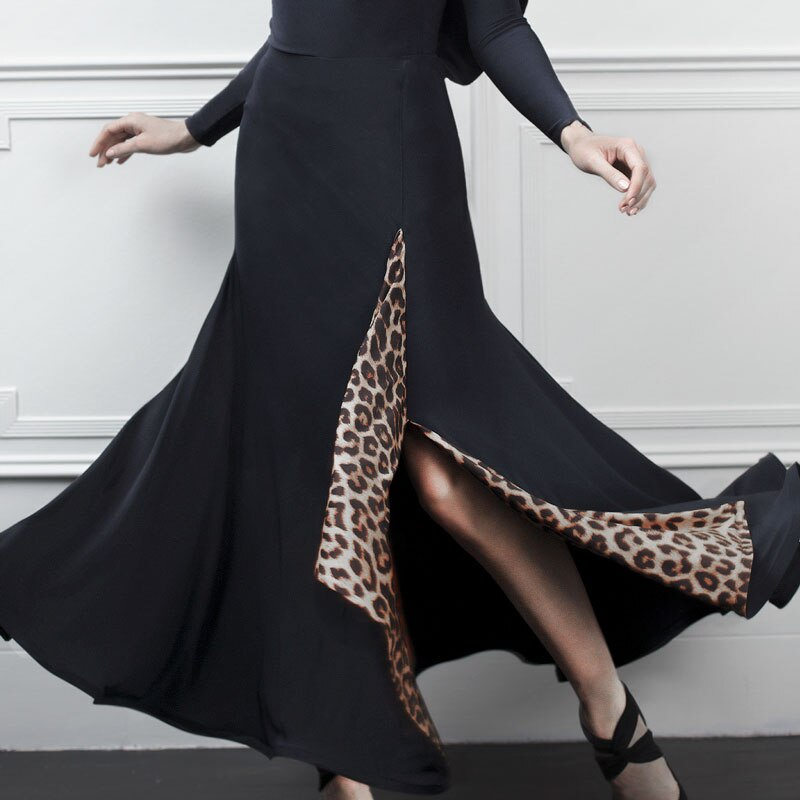 Vestidos de competición de baile de salón de baile falda Tango falda para bailar vals Flamengo traje de baile moderno salón leopardo ropa