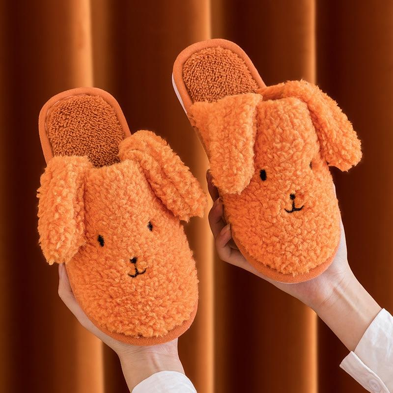 Women Teddy Dog Slippers Winter Warm Cartoon Soft Shoes Men Couples Plush Home Non-slip Furry Slippe