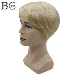 Bchr peruca de cabelo curto peruca sintética reta para o sexo masculino fleeciness realista natural loira peruca peruca