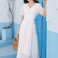 summer of 2021 the new dress long french bubble sleeves v neck tencel dress female summer ruffles casual