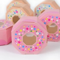 10pcs donut paper candy box cookie chocolate dessert food boxes kids birthday party baby shower wedding gift package supplies