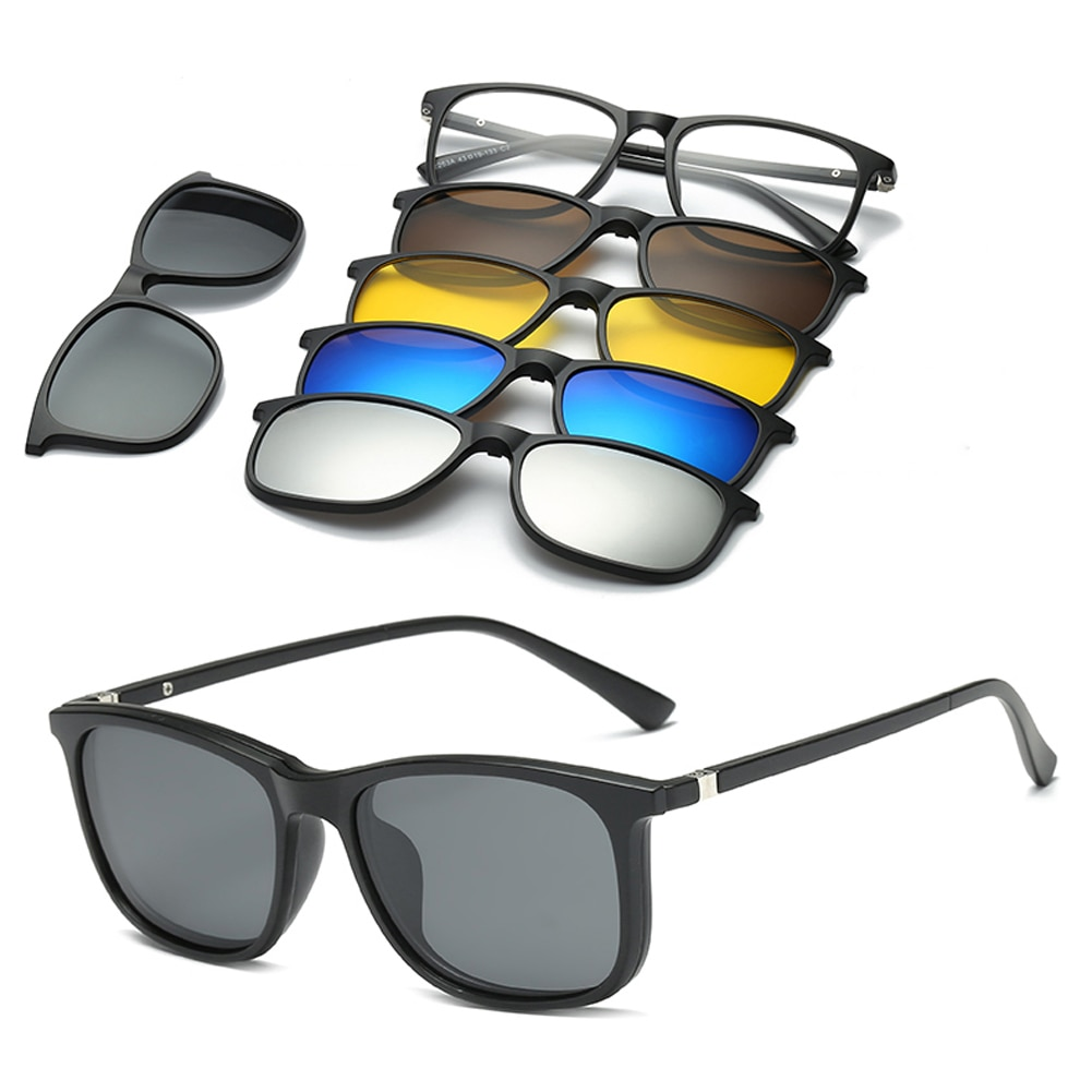Gafas de sol 6 en 1, gafas de sol polarizadas, magnéticas, Clip magnético, Clip en gafas de sol, montura de gafas de sol polarizadas con Clip