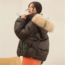 2020 hiver nouveau moelleux pain veste courte mode ample orange réel grand col de fourrure doudoune femme Parka femmes M49