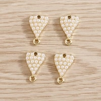 5pcs 814mm imitation pearls small love heart charms connectors pendants for necklaces bracelets earrings diy jewelry making