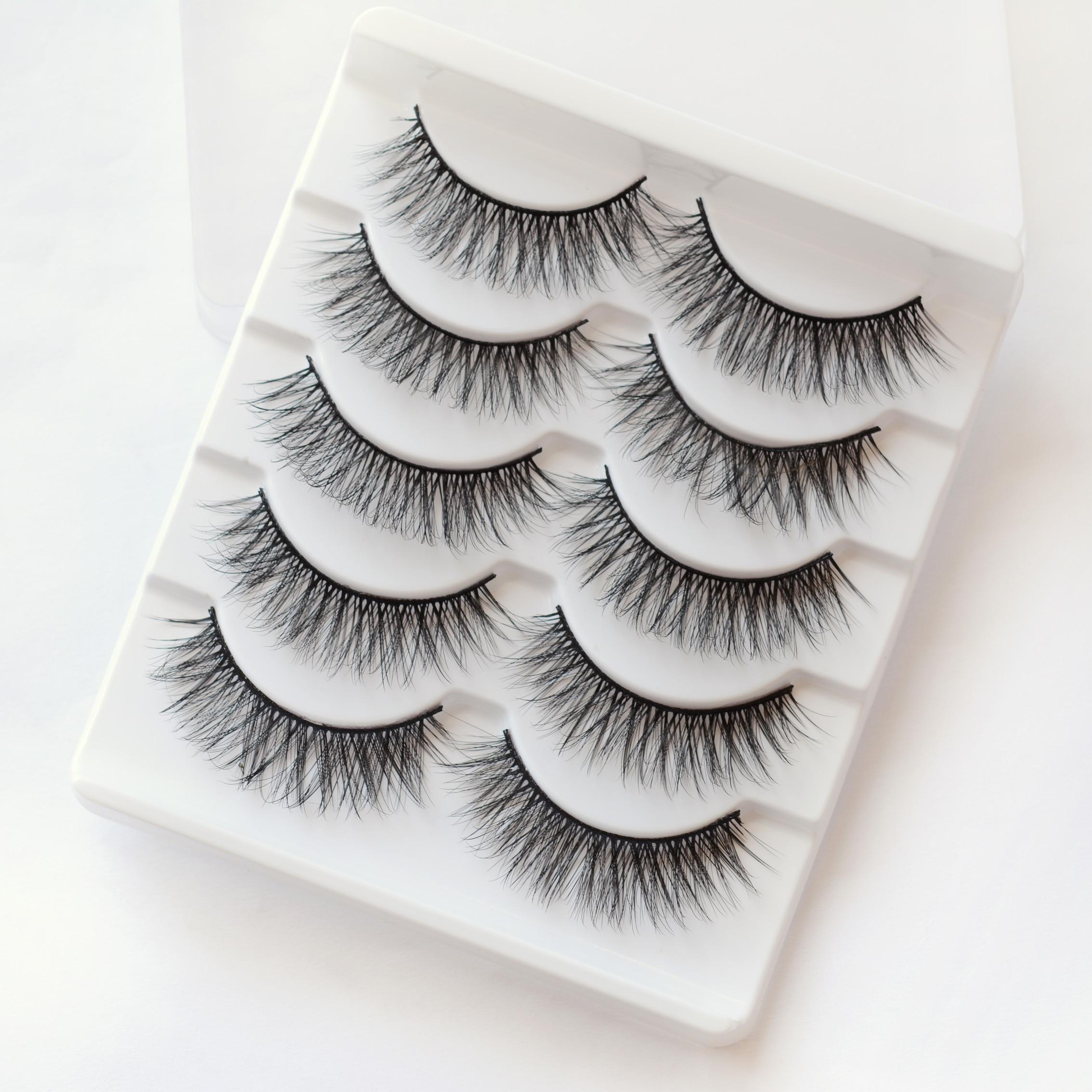 Nature Eye Makeup Tools 5 Pairs 3D False Eyelashes Faux Eye Lashes Thick Curled Eyelash Extension Fa