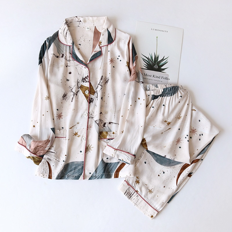 Spring / Summer 2021 New 100% viscose long-sleeved trousers ladies pajamas suit simple style long pajamas women's home service