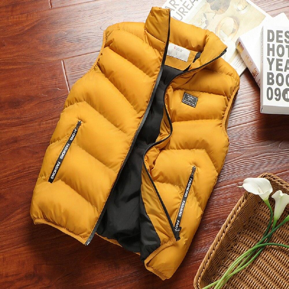 Модная мужская куртка, мужской утепленный жилет, жилет без рукавов, весенние теплые женские повседневные пальто, Мужской Хлопковый жилет дл...
