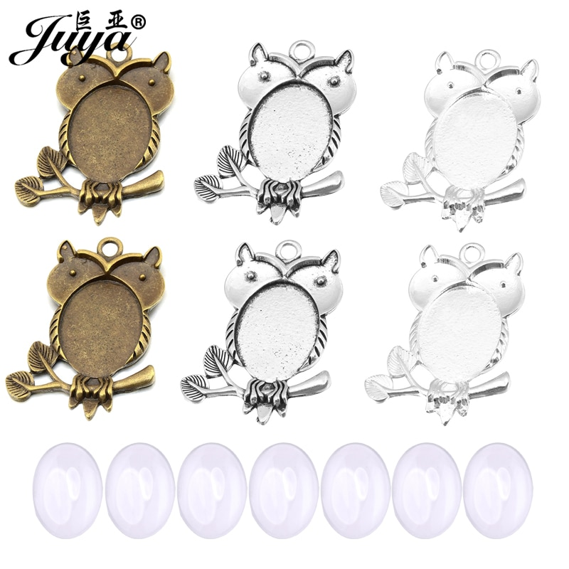 60PCS 18x25mm Owl Pendant Base Settings Oval Cabochon Bezel Metal Alloy Tray For DIY Jewelry Making Findings Accessories Crafts