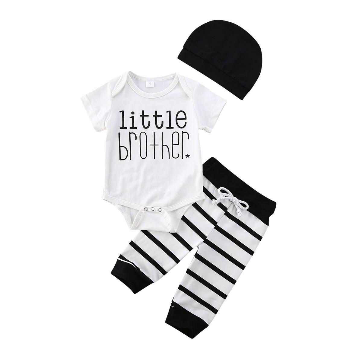 ¡NOVEDAD DE VERANO 2020! Mono informal con letras para recién nacido, gorro y pantalones a rayas, conjunto de ropa informal