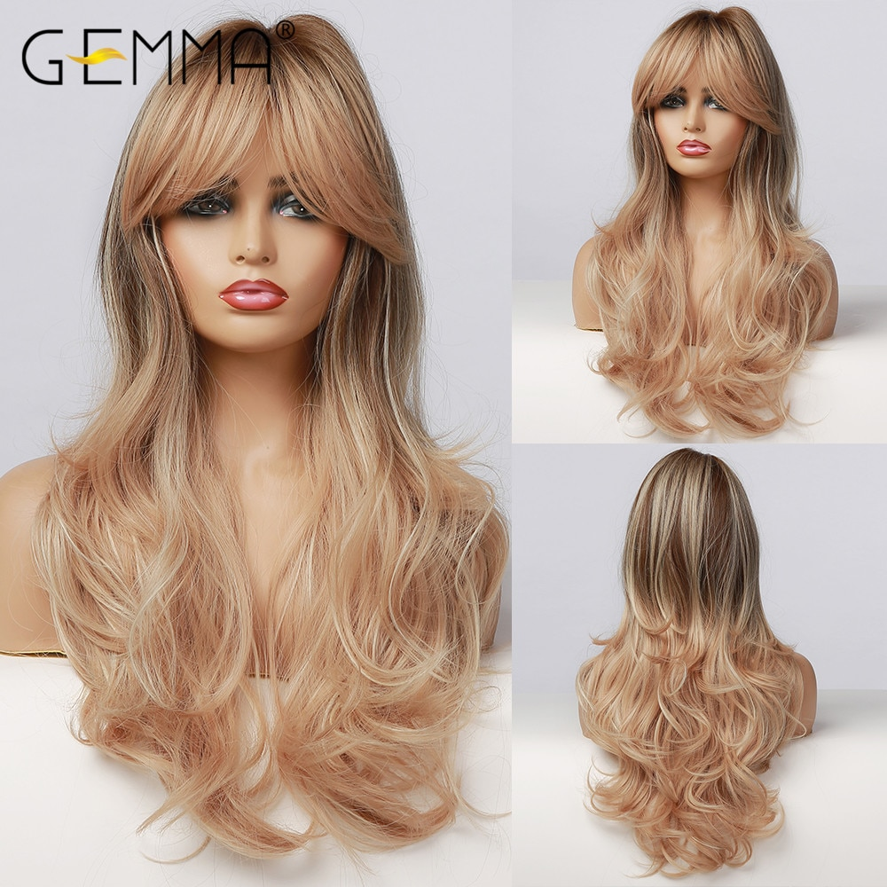 GEMMA Long Mix Brown Ombre Wigs with Highlight Water Wave Heat Resistant Synthetic Wigs with Bangs for Women African American
