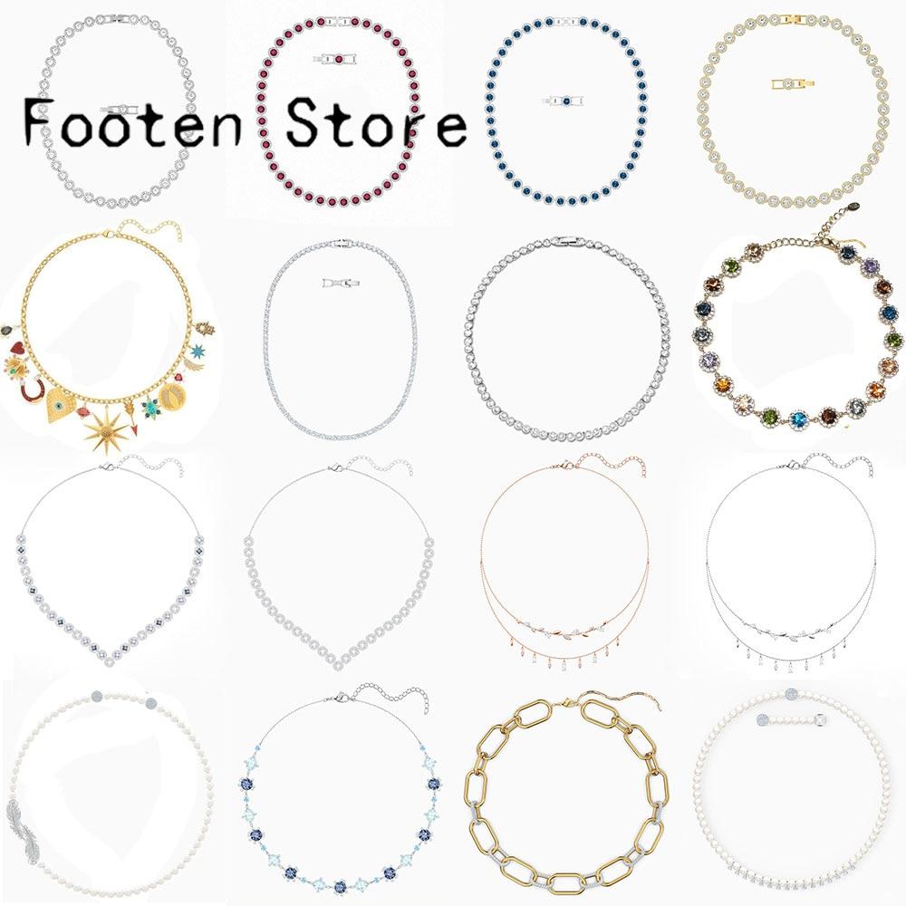 Модные-ювелирные-изделия-swa-очаровательный-элемент-символ-серия-ожерелье-Очаровательные-Кристаллы-для-женщин-Универсальный-роскошный-ром