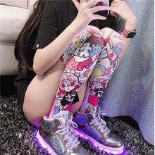 Calze di seta da donna stampate in 3D di moda coscia alta al ginocchio Anime Cartoon elastico personalizzato Cosplay rosa sottile ragazza carina calze