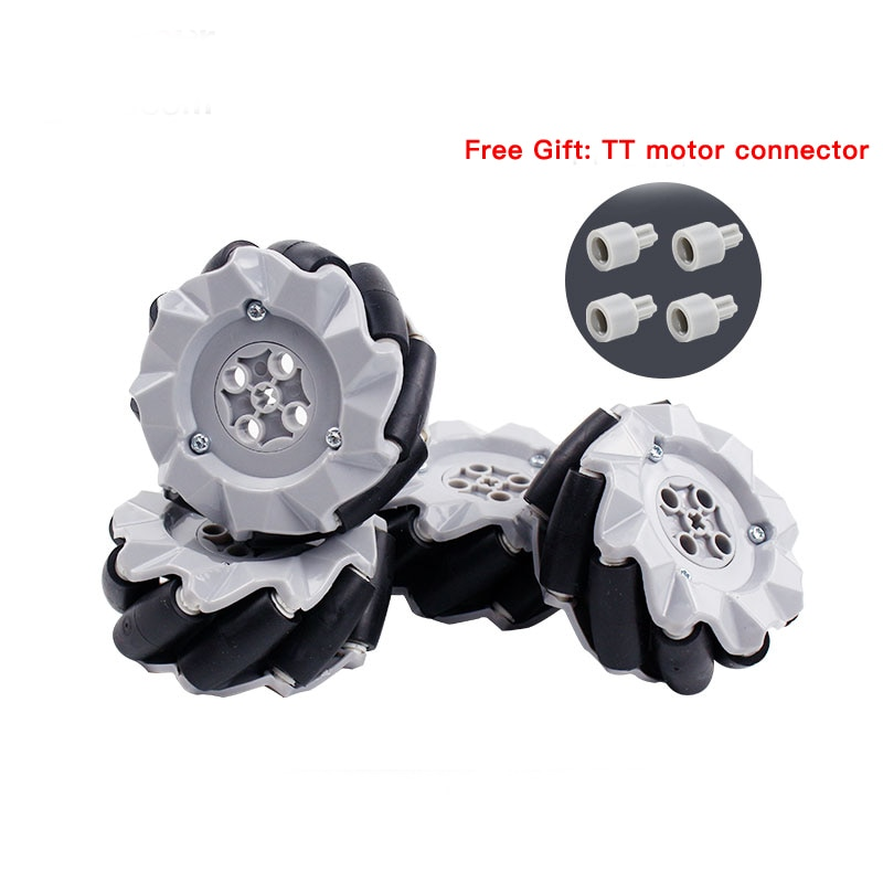 4pcs/set Mecanum Wheel Universal Omnidirectional Wheel for Legos TT N20 Motor Smart Car Robot Parts DIY Building Block Tire Toy