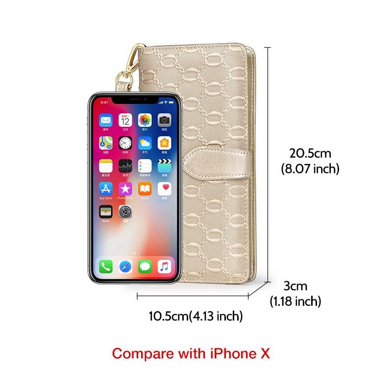 Купить с кэшбэком FOXER Stylish Women Cow Leather Long Wallet Large Capacity Ladies Phone Clutch Bag Female 15 Card Holder Money Bag Mother's Gift