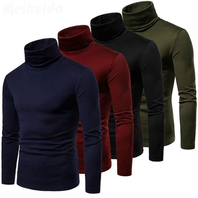 2020 New Streetwear Men's Winter Warm Cotton High Neck Pullover Jumper Sweater Tops Mens Turtleneck Fashion