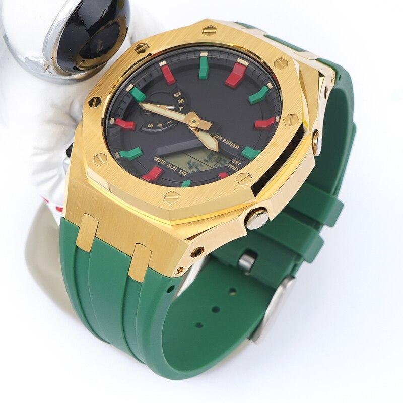 Rubber Strap Stainless Steel Bezel for Casio G-SHOCK GA-2100 GA-2110 Men Bracelet Watch Band GA 2100 Protective Case Refit Kit enlarge