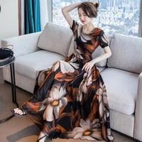 bohemia elegant women dress 2021 summer v neck short sleeve a line long dresses female vintage high waist party dress vestidos