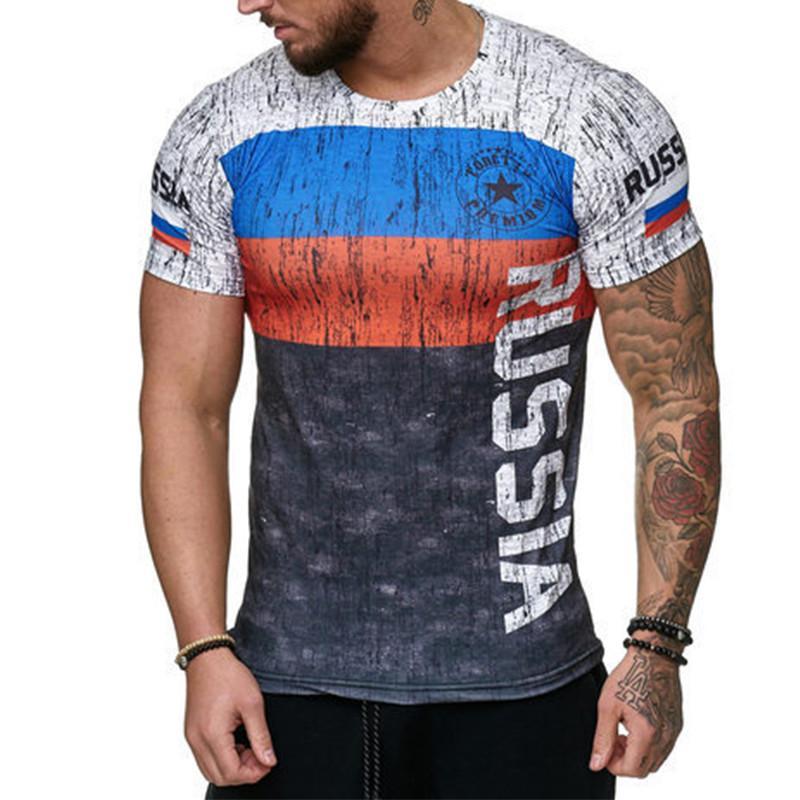 2020 summer new national flag T-shirt men's summer 3D printing casual short-sleeved T-shirt top