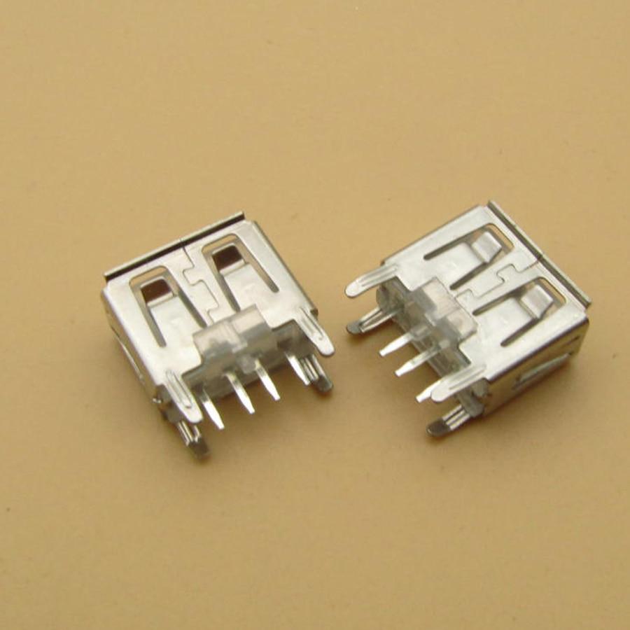500pcs laptop motherboard micro 2.0 USB 4pin 4 pin DC white A Type Flat Angle 180 Degree Female PCB Connector Socket Jack Plug
