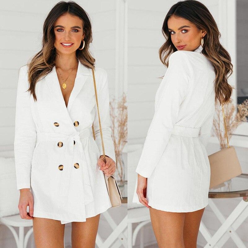 Mini Blazer Dress Women Fashion Long Sleeve Double Breasted Spring Autumn Dress Suit Jacket Coat Ladies Frocks Party Vestidos
