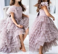 furs cap sleeve girls pageant birthday party dress tiered tulle hi lo flowers girl princess gown fluffy kids first communion