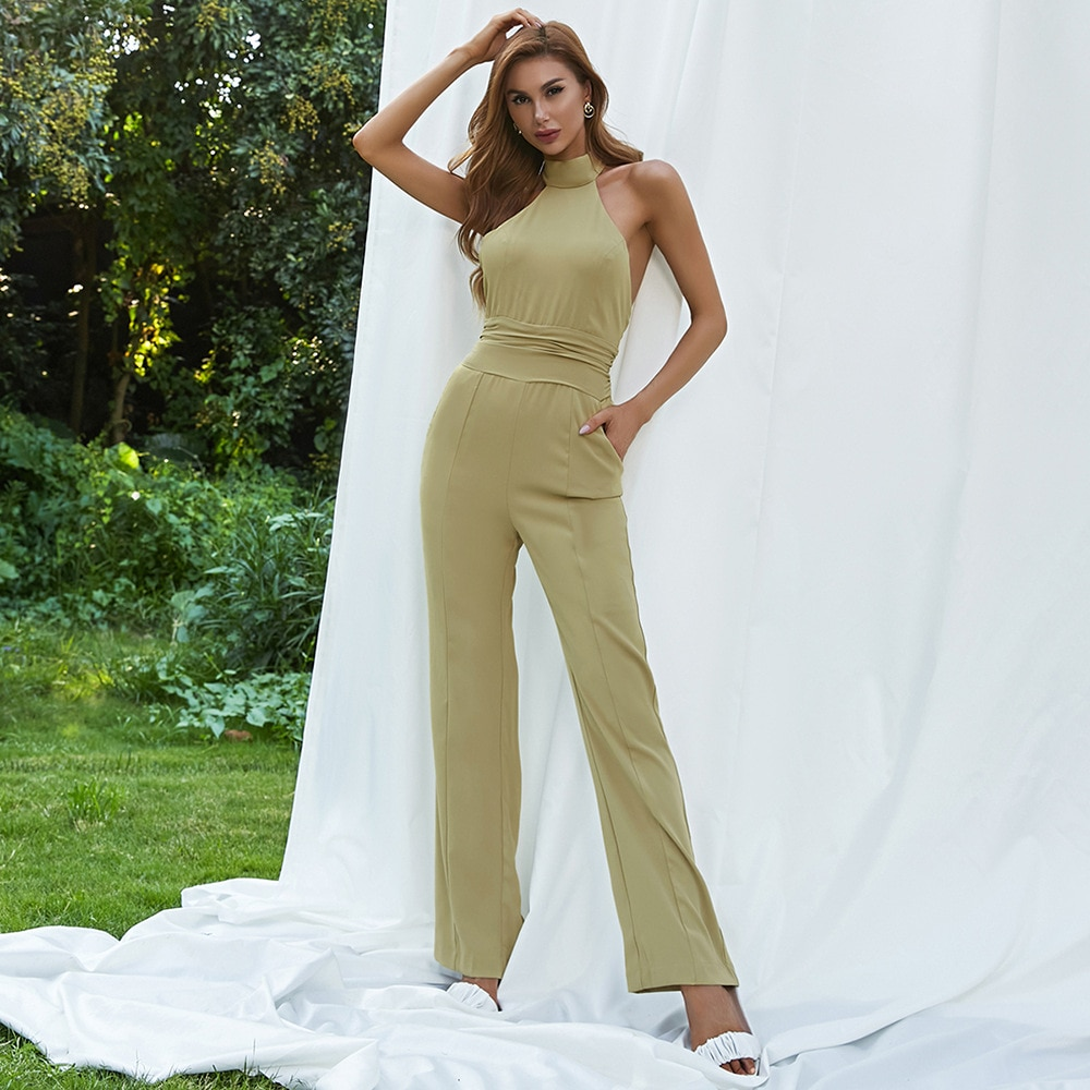High Quality 2021 Summer New Style Simple Halter Slim Fit Sleeveless Wide-leg Jumpsuit Trousers Women Korean Fashion Clothing