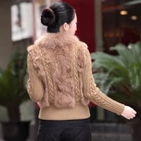 autumn winter women real rabbit fur knitted sweater jackets with fox fur collar slim fit zipper coats female large size knitwear