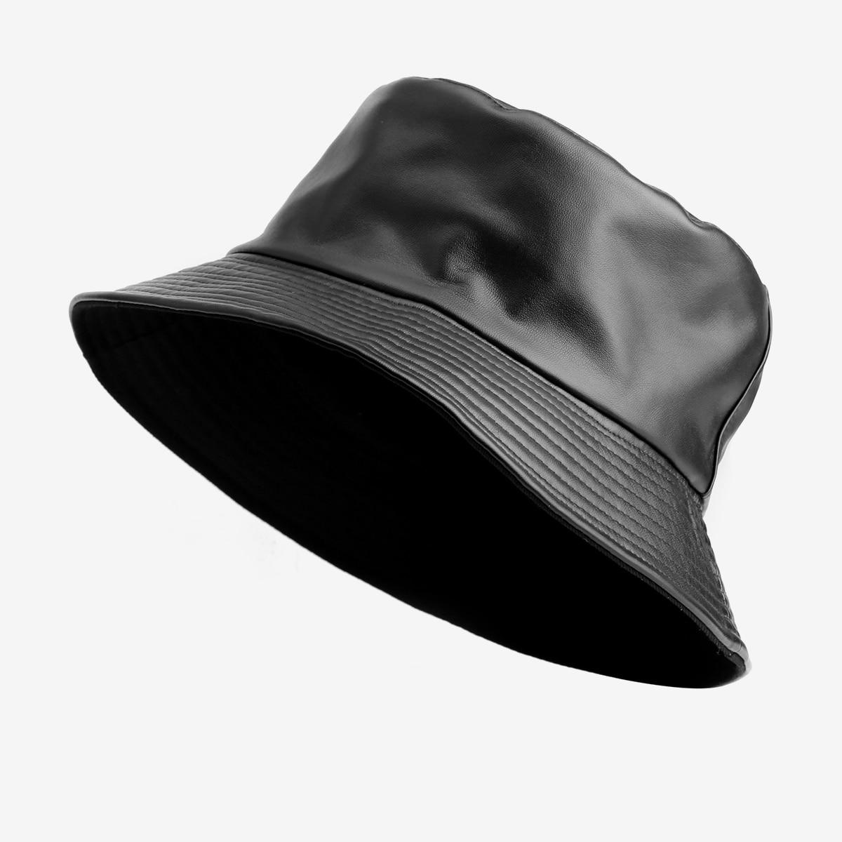 Панама Мужская/для мальчиков, двусторонняя хлопковая плетеная Рыбацкая шапка, однотонная черная из искусственной кожи, с защитой от солнца,...