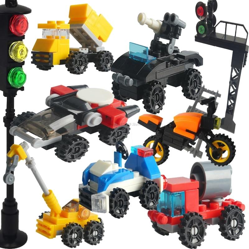 MOC técnica de tren coche policía tanque de rodillo de camino Crane cohete Jet coche deportivo de tráfico luz juguete de bloqueo juego de bloques de construcción