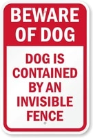 tin sign wall decor beware of dog dog contained by invisible fence sign metal painting poster