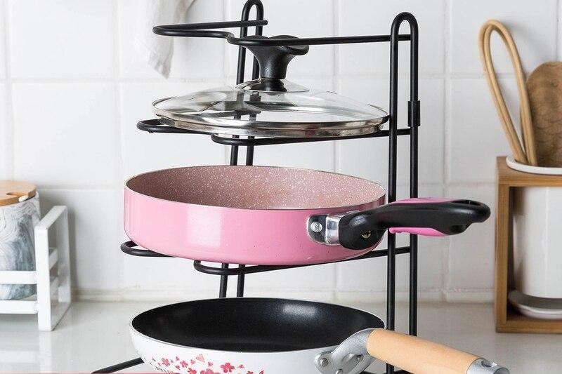 الإبداعية المطبخ متعددة الوظائف تخزين الرف المنزلية متعددة الطبقات تخزين وعاء الرف غطاء رف الاوعية