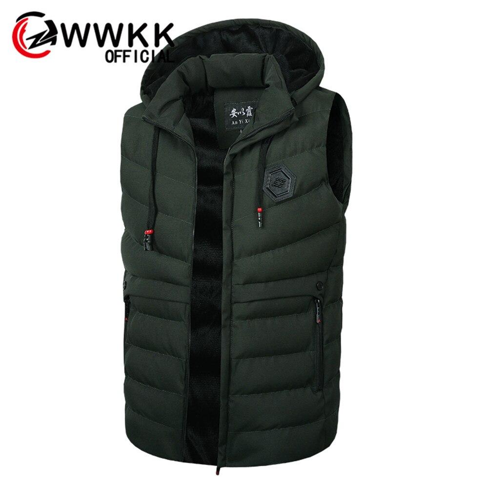 Chaleco WWKK para hombre, elegante chaqueta sin mangas de marca, chaleco de invierno de moda acolchado, chalecos para hombre gruesos, chaleco cálido a prueba de viento
