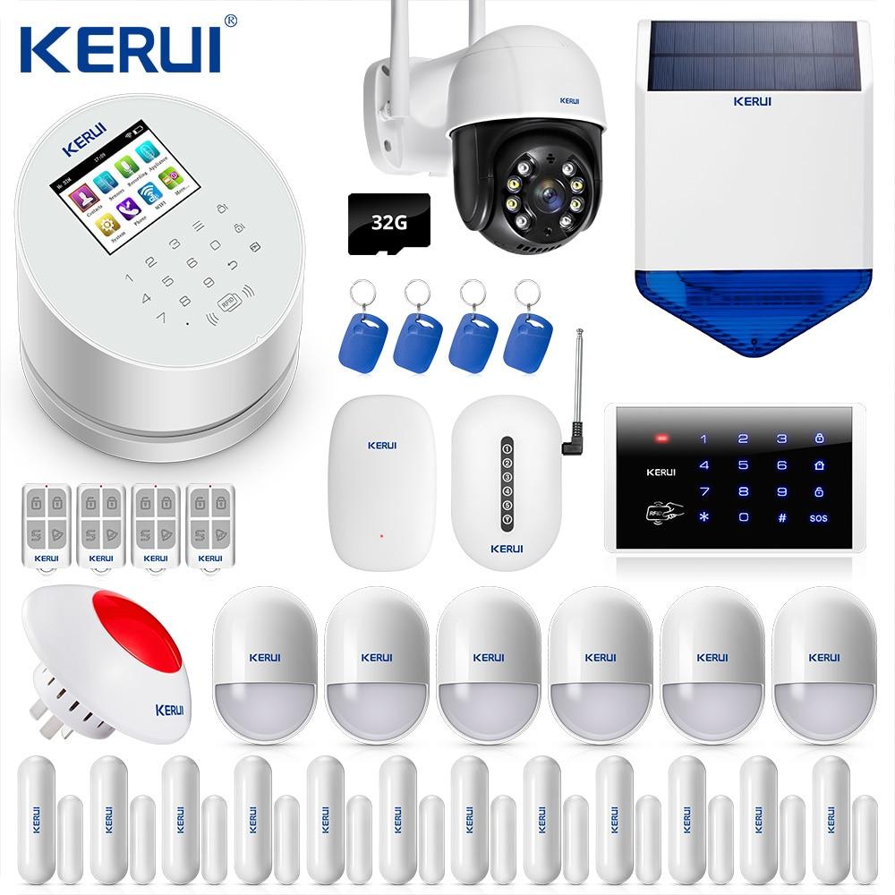 KERUI-نظام إنذار ضد السرقة W2 ، wi-fi ، GSM ، PSTN ، RFID ، 2.4 بوصة ، شاشة ملونة TFT ، كاميرا IP 3MP ، صفارة إنذار شمسية