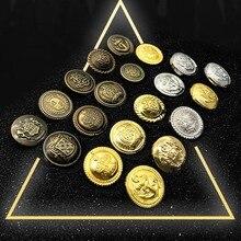 10 stücke 15/18/21/25mm goldene gold farbe kunststoff tasten bekleidungs mantel nähen zubehör tasten für kleidung handwerk