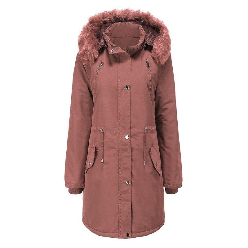 2020 nueva ropa de invierno mujeres de sección larga Cuello de piel removible sombrero invierno abrigo mujeres más terciopelo caliente Color sólido mujeres abrigos