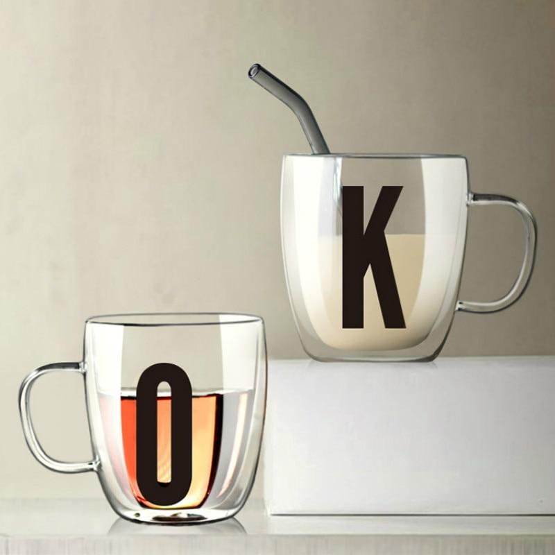 Taza de cristal con letras de alta capacidad, taza de café nórdica sencilla, creativa taza de vidrio resistente al calor, tazas de zumo, tazas para beber, DA60BLB
